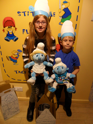 with our build a bear workshop smurfs