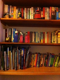 summer holiday tidy bookshelf