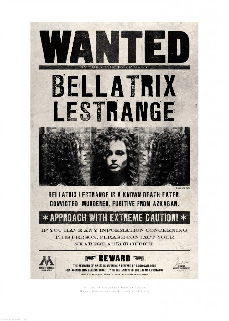 harry potter graphic art bellatrix lestrange wanted poster