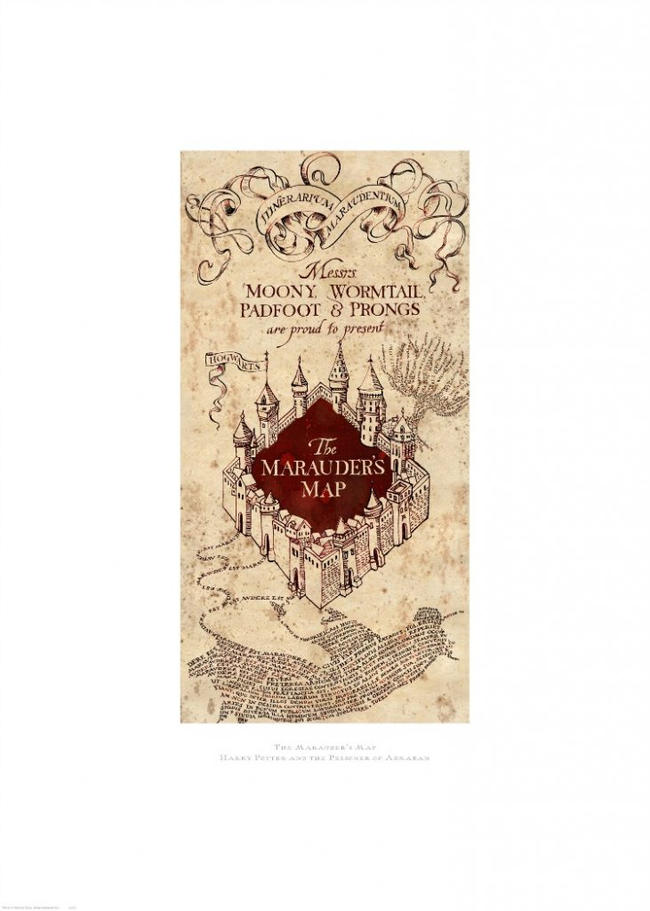 harry potter graphic art marauders map