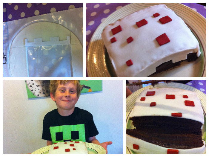 making minecraft birthday cake