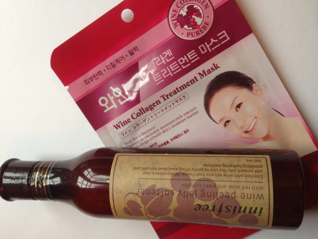 Korean beauty products with wine