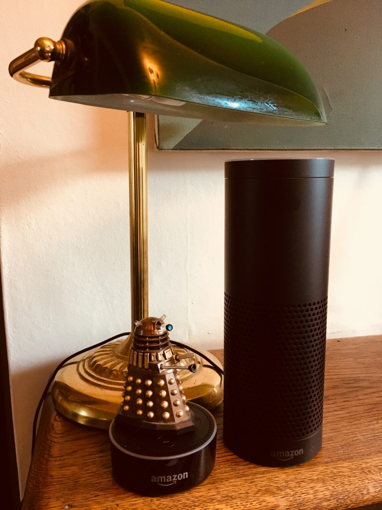 Amazon Echo and Echo Dot size comparison