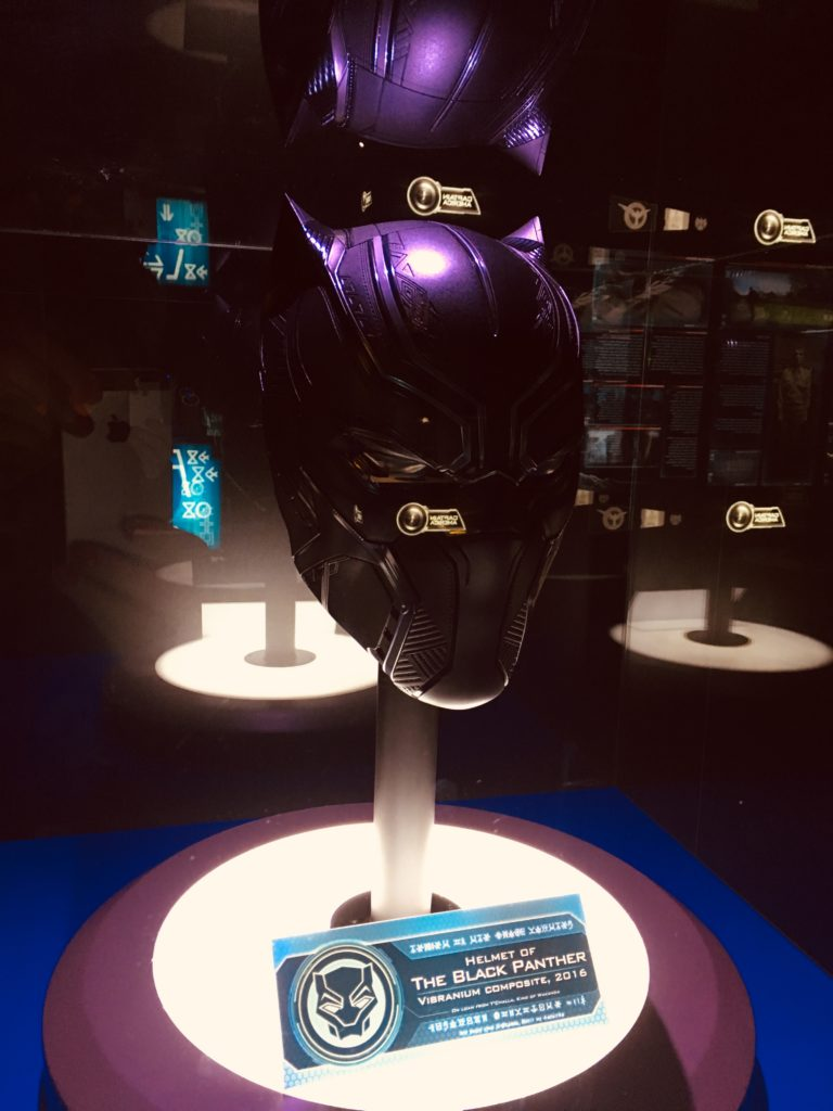Black Panther's helmet at the Marvel Avengers Station London