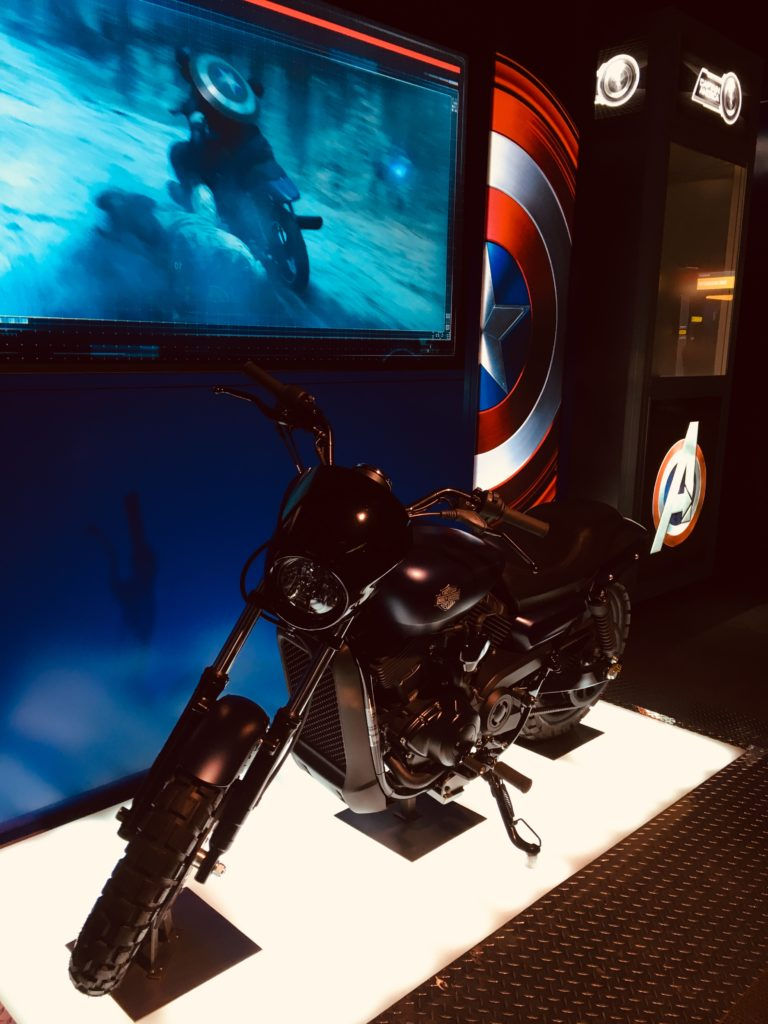 Captain America's harley Davidson at Marvel Avengers station
