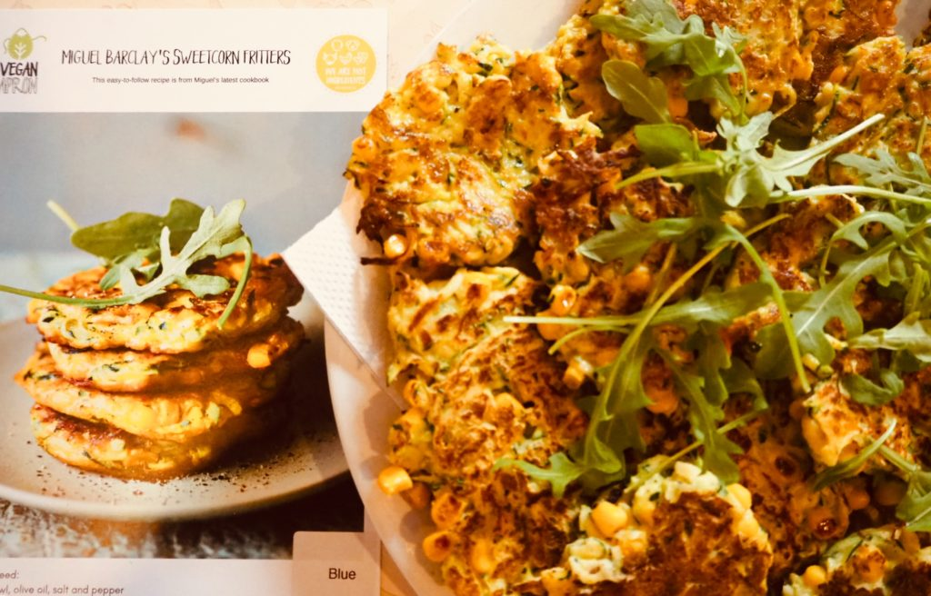 vegan one pound meals sweetcorn fritters